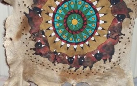 Painted Buffalo Hide in Geometric Surround